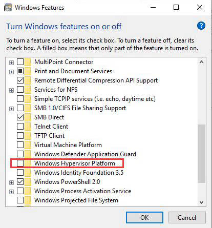 Disable Windows Hypervisor Platform