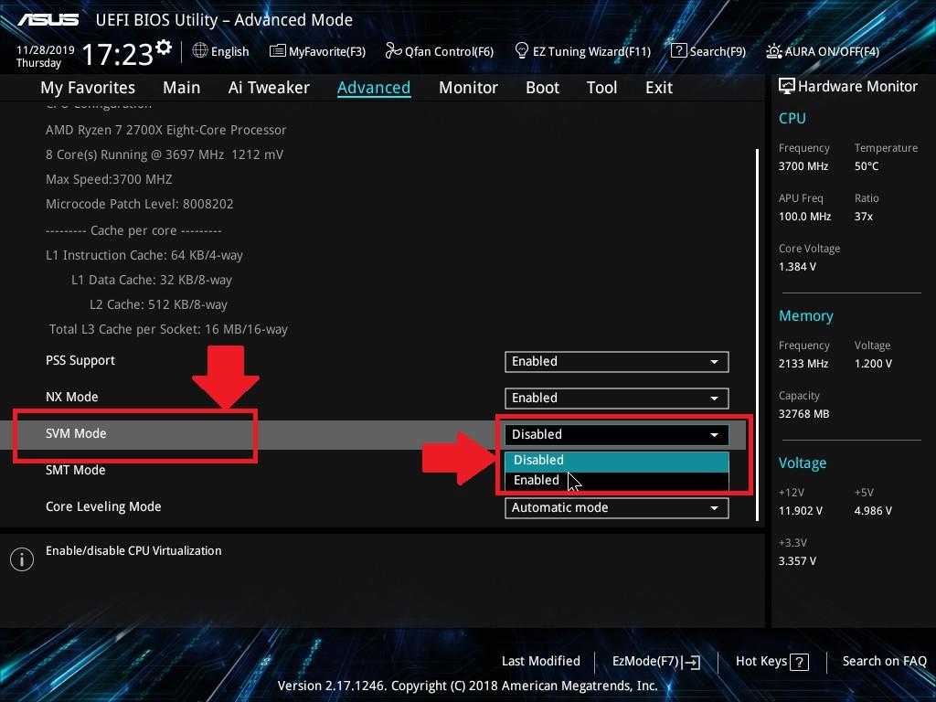 Enable Virtualization Technology (VT) on ASUS desktop and laptop