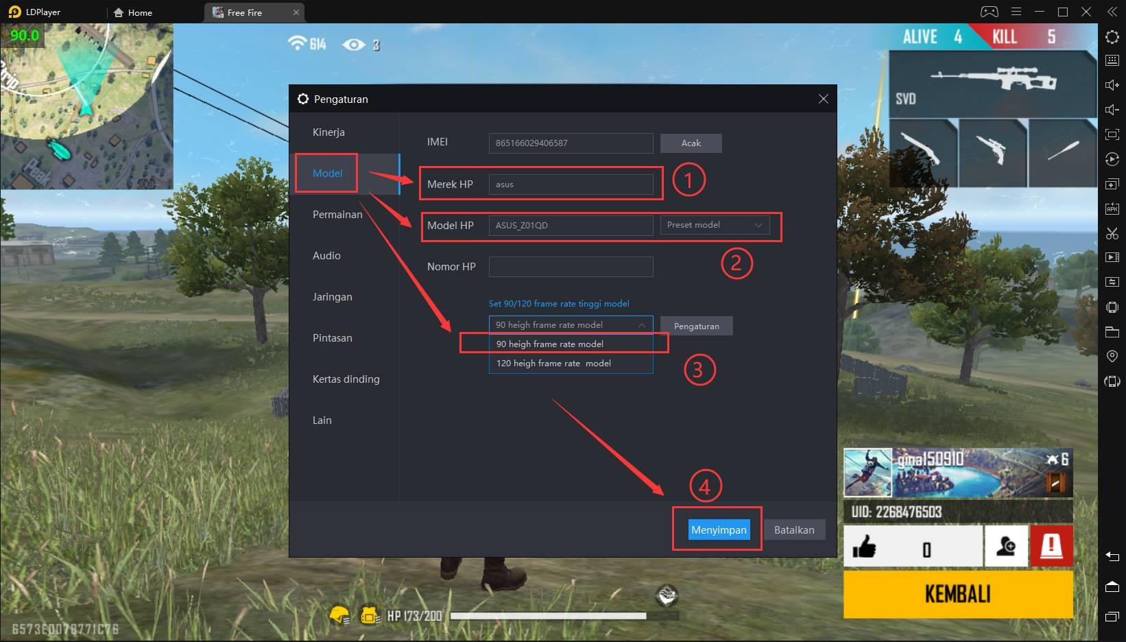 Cara mengatur 90 FPS untuk Free Fire di LDPlayer