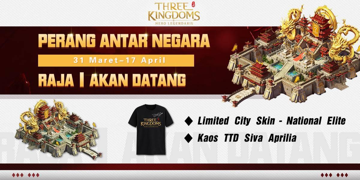 """Pengumuman Hari Ini """"Three Kingdoms: Hero Legendaris""""Pertarungan Antar Negara di Seluruh Server Akan Segera Dibuka"""
