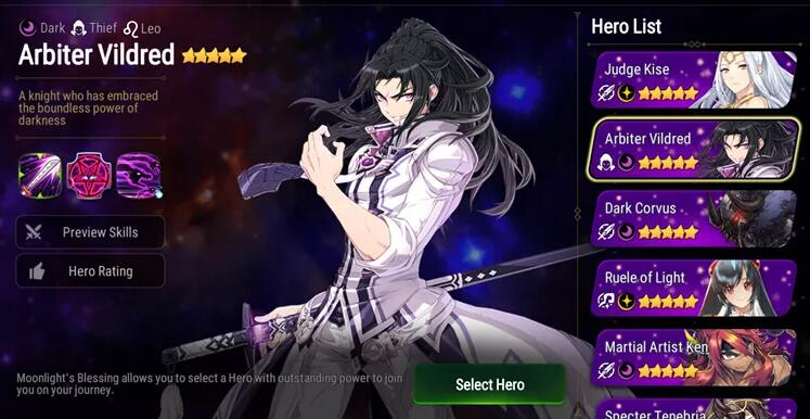 Melhor escolha para atualização da Moonlights Blessing no Epic Seven